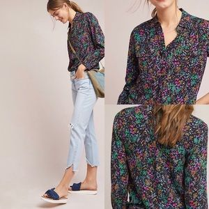 Anthro Maeve Amboseli Button Down Shirt Floral 14